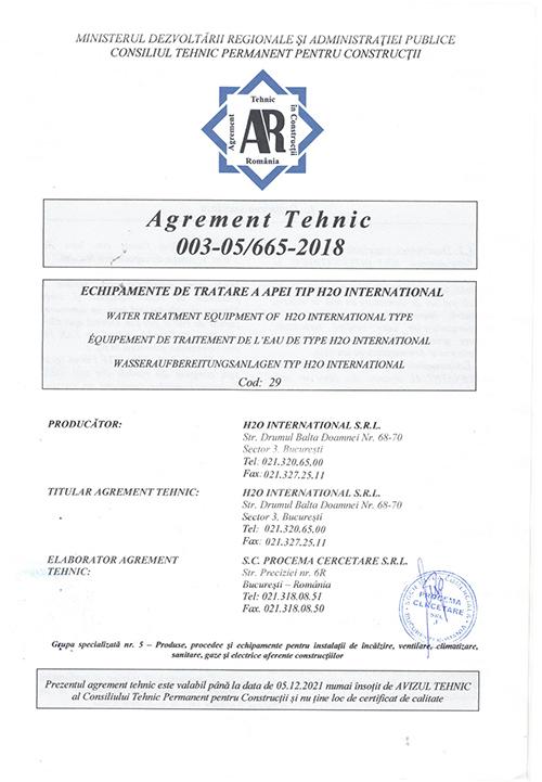agrement tehnic h2o international - Certificari