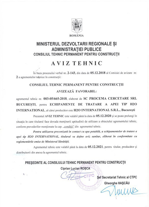 aviz tehnic h2o international - Certificari