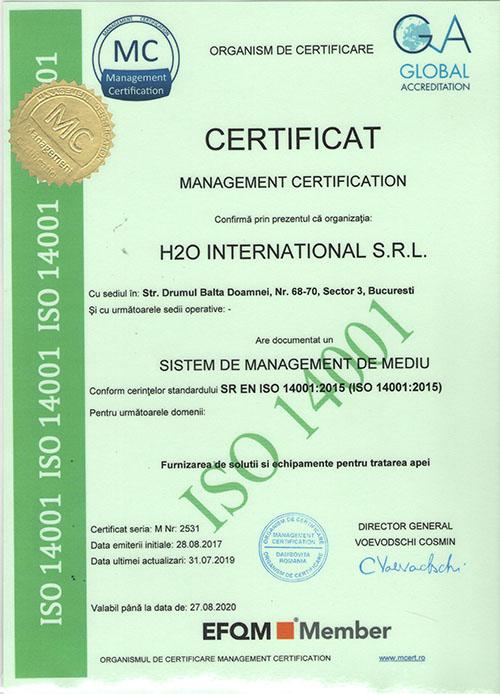 1 H2O INTERNATIONAL ISO 14001 - Certificari
