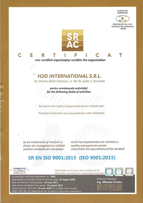 1 H2O INTERNATIONAL ISO 9001 - Certificari